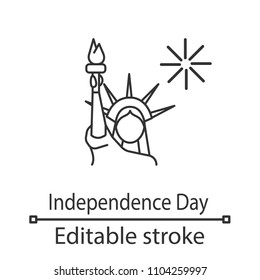 The Statue of Liberty linear icon. Thin line illustration. Independence Day. July 4th. Contour symbol. Vector isolated outline drawing. Editable stroke