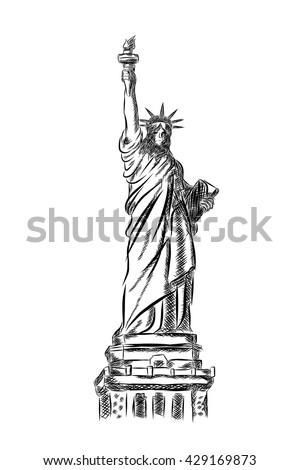 statue liberty logo design template america stock vector royalty