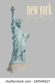 Statue of Liberty made with circles, vector