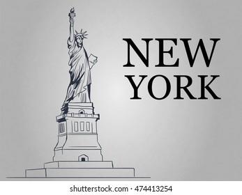Statue of Liberty. New York. American symbol. Vector illustration.