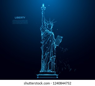 Statue of Liberty in New York City from particles, lines and triangles on blue background. Polygonal wireframe silhouette. Mesh art, poly low. Poly art. Intelligent Space