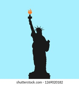 Statue of Liberty in New York city, United states of America ( USA ) - sculpture as famous landmark, monuemnt and sightseeing. Vector illustration