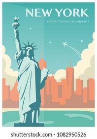 Statue of Liberty. New York landmark and symbol of Freedom and Democracy. Vector illustration