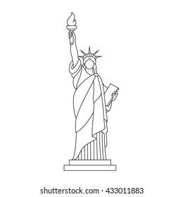 Statue of Liberty, New York landmark, Outline illustration