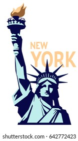 Statue of Liberty. New York landmark. US copper sculpture. Geometric image with text. The national symbol of America, a bronze color.Turquoise illustration on a white background.Vector logo EPS10