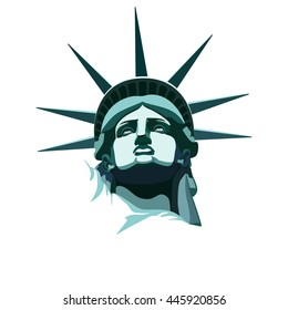 Statue of Liberty. New York landmark.USA,Bronze Portrait Statue of Liberty.Drawing on a white background.American symbol.vector illustration EPS 10