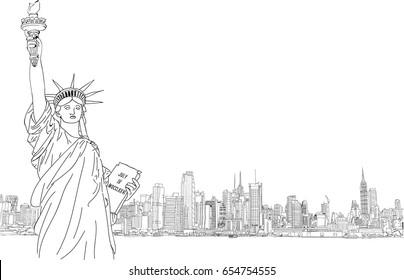 The statue of liberty, New York, USA - Skyline