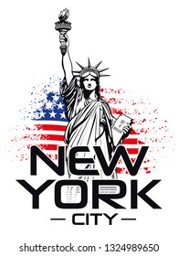 The statue of Liberty, NYC, ripped US Flag - Vector illustration
