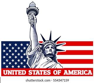 statue of liberty, NYC, USA symbol, USA flag
