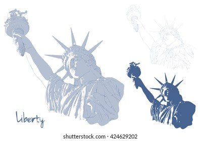 Statue of Liberty on with American flag in the front. Design for fourth July celebration USA. American symbol.