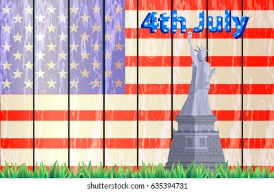 Statue of Liberty on a background of america flag on wooden boards with grass. Illustration for your design. Fourth of July. Day of independence. USA