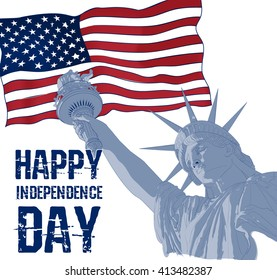 Statue of Liberty on a background of american flag. Design for fourth july celebration USA. American symbol.
