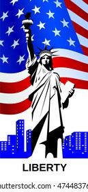Statue of Liberty on the background of the national flag of the USA