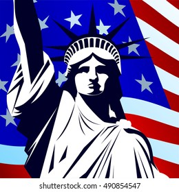 Statue of Liberty on the background of the national flag of the USA.2016 USA presidential election poster. Vector illustration EPS10
