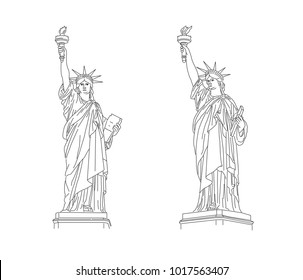 The Statue of Liberty outline illustration from two angles of view, side and front, black line, isolated, detailed graphic drawing