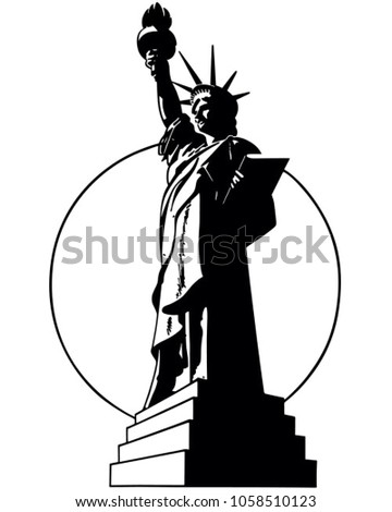 statue liberty retro clip art illustration stock vector royalty rh shutterstock com clipart statue of liberty silhouette statue of liberty clipart black and white