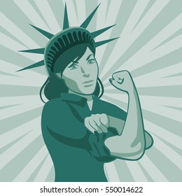 The Statue of Liberty as Rosie the Riveter. The statue rolls up her sleeve in a classic Rosie pose. EPS 10 vector