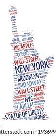 Statue of Liberty shaped word cloud in New York concept