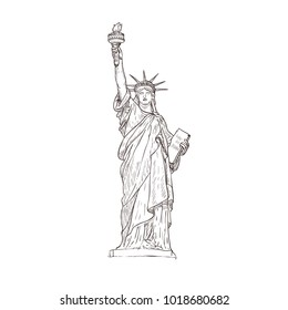 Statue of liberty, sight of America. Isolated on the white background.