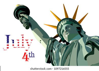 Statue of Liberty symbol of Freedom and Democracy. Independence day. 4th of July.