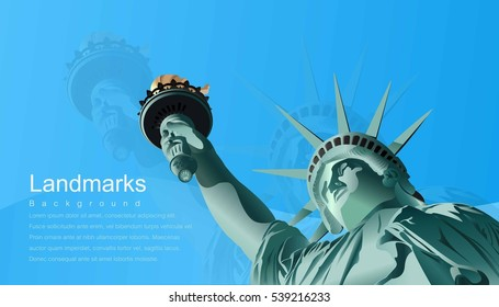 Statue of Liberty, Symbols of America, What a beautiful world ,illustration; vector