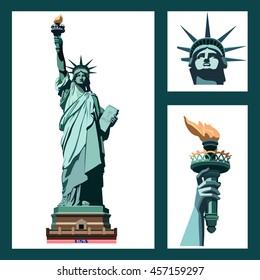 Statue of Liberty USA. ART. New York landmark. The bronze sculpture. Set three illustrations. Green logo on a white background. American symbol. logo, icon, EPS 10