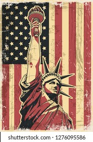Statue of Liberty USA Flag Poster Grunge Texture Pattern