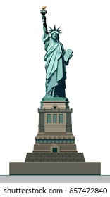 Statue of Liberty. USA. Monument sculpture in New York. The national symbol of America. Illustration on a white background. Use the presentation of corporate reporting, marketing, line, logo vector
