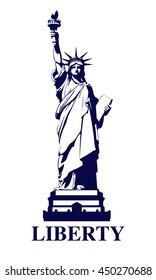 Statue of Liberty USA. New York landmark. The bronze sculpture. The dark logo on a white background. American symbol. Vector illustration EPS 10
