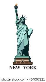Statue of Liberty USA. New York landmark. The bronze sculpture. Green logo on a white background. American symbol. Vector illustration EPS 10