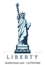 Statue of Liberty USA, poster. 2020. Creative Blue Linear Picture. National Symbol of America. Illustration white background. Use presentations,corporate reports, text, emblems, labels, logo,vector