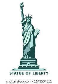 Statue of Liberty USA, poster. 2020. Creative green Linear Picture. National Symbol of America. Illustration white background. Use presentations, corporate reports, text, emblems, labels, logo, vector