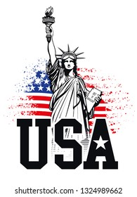The statue of Liberty, USA, ripped US Flag - Vector illustration
