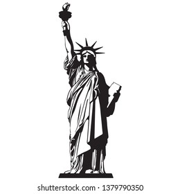 statue of liberty vector in black and white
