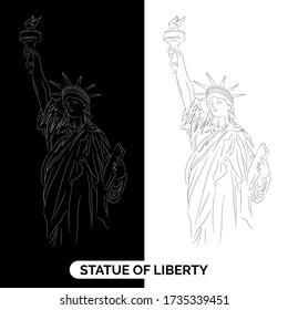 The Statue of Liberty. Vector Illustration ,  - vector art, line art, hand drawn