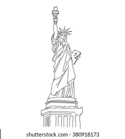 Statue of Liberty, vector illustration, hand drawn Outline Scribble