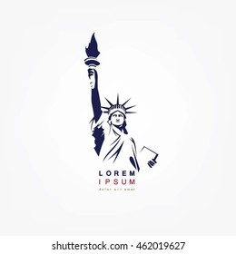 The Statue of Liberty. Vector Illustration on white background