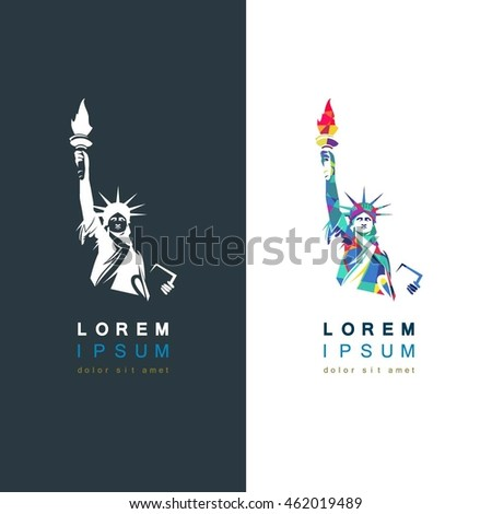 statue liberty vector logo template stock vector royalty free
