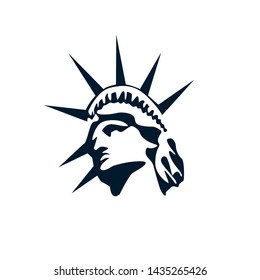 Statue of liberty vector simple icon. Democracy logo for badge, landmarks, post cards, New York City, NYC symbol.