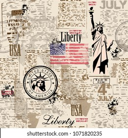 Statue of Liberty.  Vintage background. Newspaper.