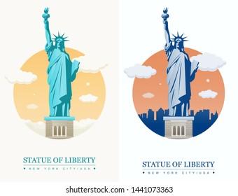 Statue of Liberty. World landmark. American symbol. New York city. Vector illustration