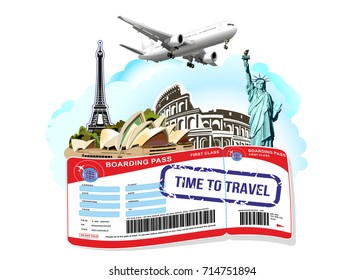Statue of Liberty.Eiffel Tower.Colosseum. Travel tourism vector landmarks.The business card, poster, sticker, ticket for the sale of tours and trips. Vector image of airline boarding pass ticket.