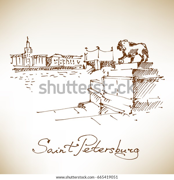 Statue of a lion at the Admiralty embankment, view on Neva River. St.Petersburg, Russia. Vector illustration.