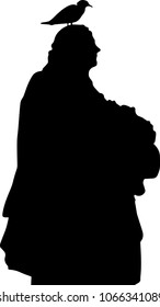 Statue of a man with a bird sitting on its head. Black and white vector EPS 10 image.