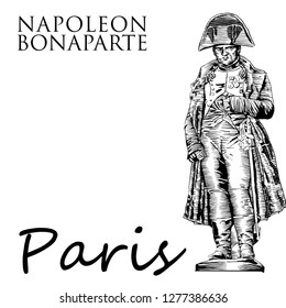 Statue of Napoleon Bonaparte. Paris, France. Illustration by hand in the style of engraving.