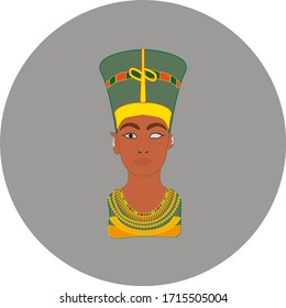 Statue of Neferu Aton Nefertiti who was an Egyptian queen. illustration for web and mobile design.
