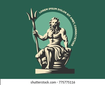 Statue of Poseidon or Neptune with a trident.