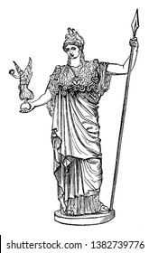Statue representing Athena standing bold, holding a statue of Nike in her right hand. She has a spear in her left hand, vintage line drawing or engraving illustration.