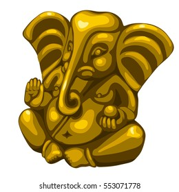 Statuette of Hindu God Ganesha isolated on a white background. Vector illustration close-up.
