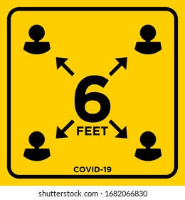 Stay 6 Feet Apart Keep Your Distance Warning Sign COVID 19